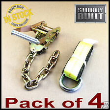 4x Chain Ratchet & 12' Lasso straps Wrecker Tow Truck Auto Car Hauler Tie Down