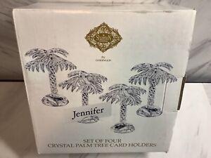 Set Of 4 Godinger Crystal Palm Tree Name Holders Shannon Glass