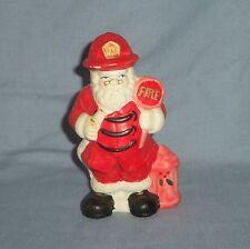 Vtg Ceramic FIREMAN SANTA CLAUS Figurine Christmas Fire Hose Stop Sign Hydrant
