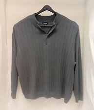 Men's 5XL BIG Long Sleeve 1/4 Zip Gray KingSize Sweater    BP62