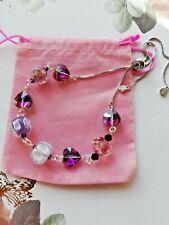 Handmade Unique Purples Lampwork, & Crystal Slider Bracelet Silver Tone