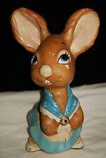 Large Rare Vintage PENDELFIN ~ Mother Rabbit ~ FIGURINE In Blue c 1960's