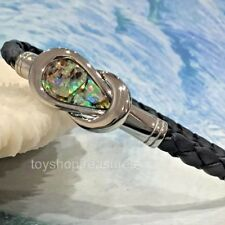 Mens Braided Leather Stainless Steel and Natural Abalone Shell Bracelet - Men