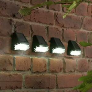 4 x Solar Powered Led Garden Fence Lights Wall Step Outdoor Waterproof Lighting