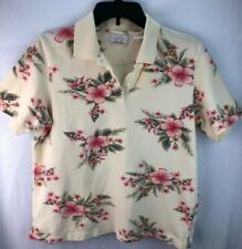 WOMENS EP PRO  GOLF POLO SHIRT SIZE L YELLOW FLORAL