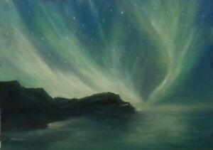 Night Skies 5x7 orig oil painting Celene Farris Maine Northern Lights ocean star