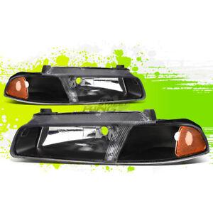 Factory Style Halogen Headlight for Cirrus Stratus Breeze 95-00 Black Amber Pair