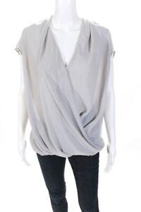 Helmut Lang  Womens V Neck Drape Front Blouse Grey Size Medium
