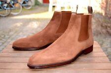 Handmade men beige boots, suede leather boot for men, men dress formal boot, tan