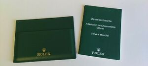 Genuine Rolex Green Leather paperwork wallet and translation booklet
