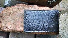 American Alligator leather Business card Wallet Swamp Skin Gator Hide Black E