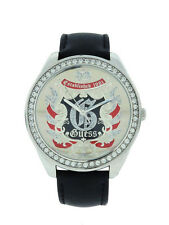 Guess W10110L4 Women's Round Analog Clear Stone Leather Stainless Steel Watch