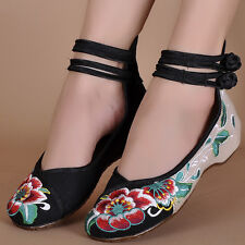 Chinese Womens Embroidered Flower Flat Ballet Dance Shoes Mary Jane Cotton Pump
