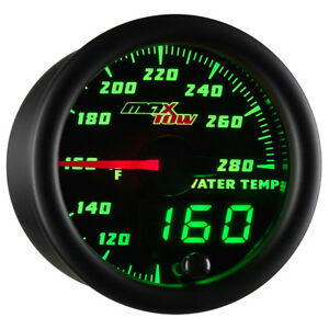 52mm MAXTOW DOUBLE VISION WATER COOLANT TEMP GAUGE w GREEN LED DIGITAL + ANALOG