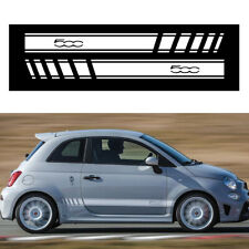 For FIAT 500 Abarth Side Stripes Skirt Sticker Decals Wraps Body Stickers White