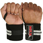 WEIGHT LIFTING TRAINING WRIST SUPPORT COTTON WRAPS GYM BANDAGE STRAPS GREY 18""