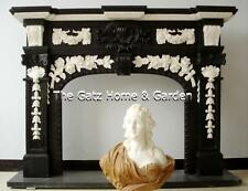 Beautiful Black & White French Design Marble Fireplace Mantel and Surround