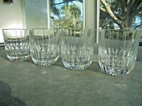 """Set of 4 Cris D' Arques Boulevard Double Old Fashioned Rocks Glasses 4"""" Tall"""