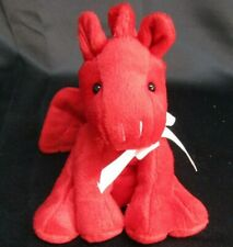 Mobil Red Dragon Plush 7 inches Wings 4 Rope Tails Ribbon Tie Stuffed Animal