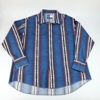 Wrangler Mens Western Aztec Blue Pearl Snap Button Long Sleeve Shirt Size XXL