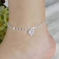 1pcs Retro Style Womens Crystal Rhinestone Love Heart Chain Pendant Anklet Ankle
