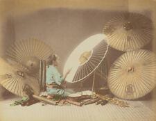 Umbrella Maker Japan 19th Century Felice Beato Reprint Photo 6x5 inch