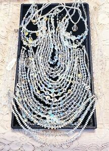 18 Piece Vintage AB Crystal Beaded Mixed Necklace Lot
