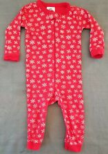 (12Mos) Red with Snowflakes One-Piece Zippered Sleeper with Penguin