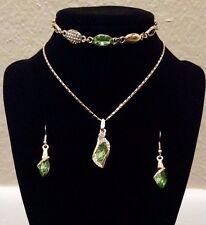 Luxury Green CZ w Silver or Gold Chain Austrian Crystal Drop Jewelry Set