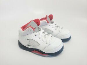 Jordan 5 Retro (TD) Fire Red True White Black 440890-102 Toddler Size 5c
