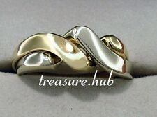 R008 - Lovely Genuine SOLID 9ct TWO-Tone White Yellow Gold PUZZLE Ring size Q
