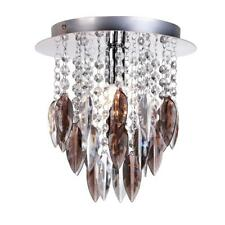 WILLAZZO MODERN SINGLE CEILING FLUSH LIGHT IN CHROME FINISH WITH SMOKED DROPLETS