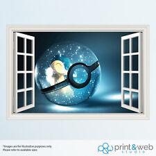 Pokemon Pokeball Blue 3D Window View Decal Wall Sticker Home Decor Art Mural