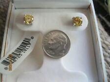 NWT Citrine Stud Pierced Earrings Sterling Silver Boxed ~*~*~*~*~