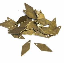 100pc 18x10mm antique bronze finish rhombus iron pendant-8686F