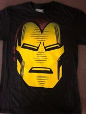 New Men's Marvel Iron Man Big Head  T Shirt Black Sz L Free Ship