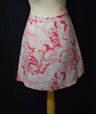 Ladies H&M Size 12 Mid Length White Cotton Summer Skirt With Red Floral Pattern