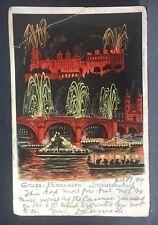 1899 postcard  GRUSS aus HEIDELBERG, Germany  colorful fireworks!!!