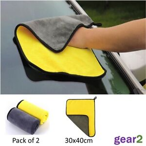 2 x Large Super Absorbent Car Wash Microfibre Towel Cloth Car Cleaning Drying