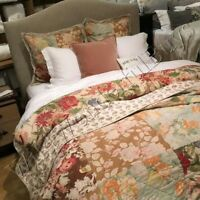 Pottery Barn Carolina Quilt Queen Floral Patchwork Cottage New No Shams