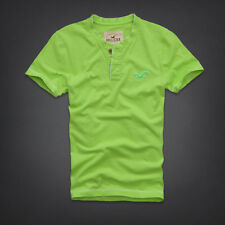 New Hollister Mens Emerald Cove Henley T-Shirt Bright Green Size Large