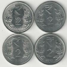 4 DIFFERENT 2 RUPEE COINS from INDIA (ALL 2012 with MINT MARKS of B/C/H/N)