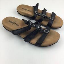 Minnetonka 8 Black Leather Sandals Strappy Jeweled Embellished Slide On Flat