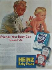 1944 Heinz baby food cereal doctor stethoscope baby diaper vintage ad
