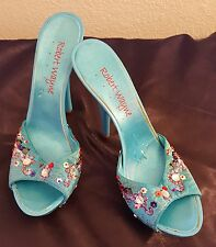 "SEXY NEW ""ROBERT WAYNE"" TURQUOISE BEADED MULES HEELS BRIDAL PARTY CLUB CRUISE"
