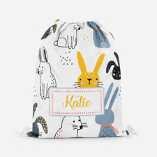 Personalised Cartoon Bunny Rabbits Kids Drawstring Bag PE Swimming School Bag