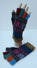 UNISEX ALPACA WOOL Hand Knitted FINGERLESS GLOVES * VERY WARM *  Large size