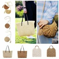 Women Summer Straw Rattan Beach Shoulder Bag Woven Crossbody Handbag  Tote Purse