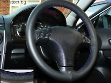 FOR MAZDA MX5 1990-2005 REAL ITALIAN LEATHER STEERING WHEEL COVER BLUE STITCHING