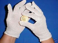 12 PAIR WHITE COTTON LISLE COIN JEWELRY INSPECTION GLOVES PHOTO FILM GOLD MEN LG